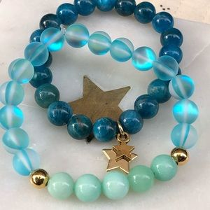 Aqua Aura Quartz Malaysian Jade Mala Bracelet